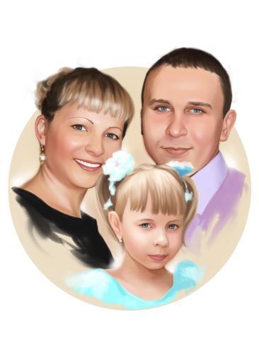 Семейный портрет по фото на холсте в Краснодаре — правильный подарок!