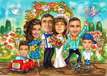 Шарж по фото на годовщину свадьбы на заказ в Краснодаре…